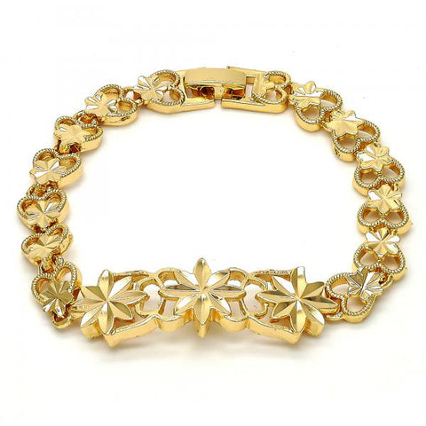 Gold Tone 03.192.0030.07.GT Fancy Bracelet, Flower and Heart Design, Diamond Cutting Finish, Golden Tone