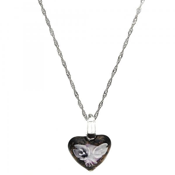 Gold Tone 04.276.0002.18.GT Fancy Necklace, Heart and Flower Design, with Pink Azavache, Polished Finish, Rhodium Tone