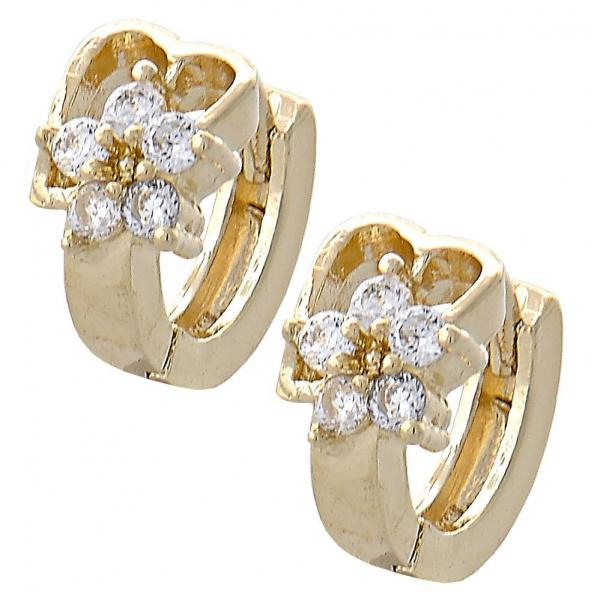 Gold Layered 02.165.0113 Huggie Hoop, Flower and Heart Design, with White Cubic Zirconia, Polished Finish, Golden Tone