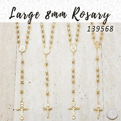 10 Large 8mm Rosaries in Gold Layered ($10.00) ea