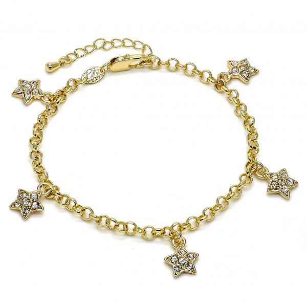 Gold Layered 03.63.1357.07 Charm Bracelet, Star and Rolo Design, with White Crystal, Polished Finish, Golden Tone