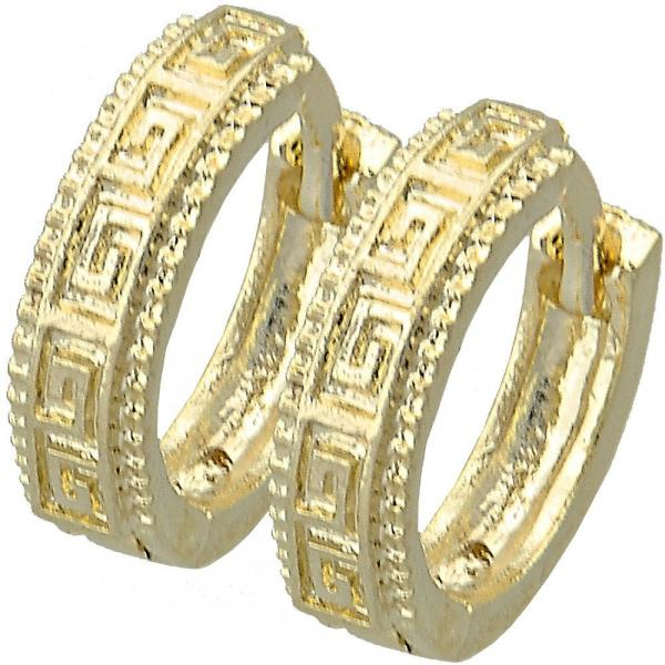 Gold Layered 02.164.0014 Huggie Hoop, Greek Key Design, Diamond Cutting Finish, Golden Tone