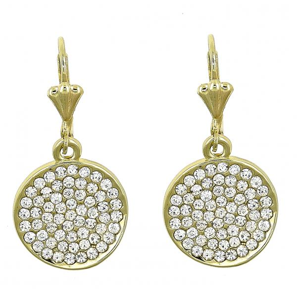 Gold Layered 02.59.0122 Dangle Earring, with White Crystal, Polished Finish, Golden Tone