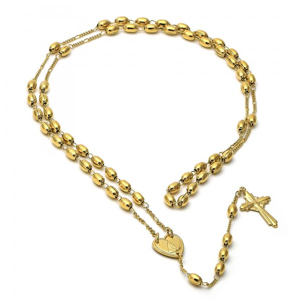 Gold Layered 4992.089.30 Large Rosary, Caridad del Cobre and Cross Design, Golden Tone