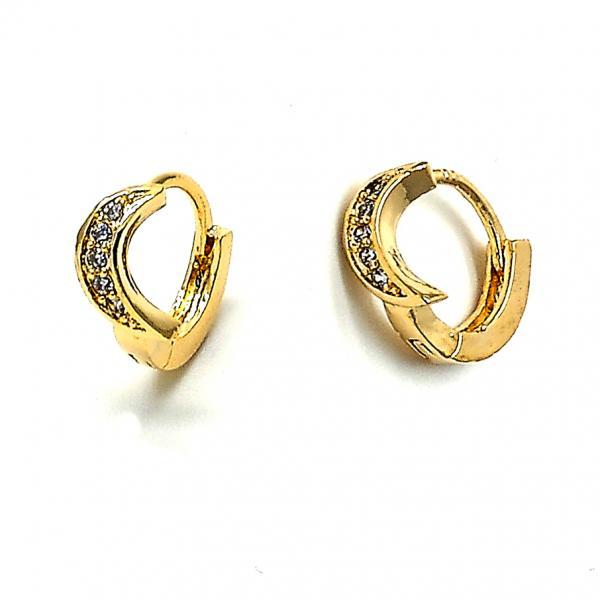 Gold Layered 02.165.0009 Huggie Hoop, Moon Design, with White Cubic Zirconia, Polished Finish, Golden Tone
