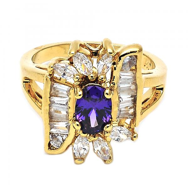 Gold Layered Multi Stone Ring, Baguette and Cluster Design, with Cubic Zirconia, Golden Tone