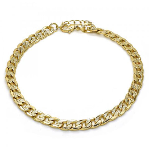 Gold Layered 04.213.0119.10 Basic Anklet, Pave Cuban Design, Polished Finish, Golden Tone
