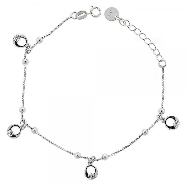 Sterling Silver 03.183.0057 Charm Bracelet, with Dark Champagne Crystal, Polished Finish, Rhodium Tone
