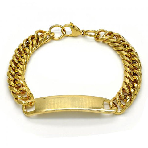 Stainless Steel 03.269.0005.08 ID Bracelet, Polished Finish, Golden Tone