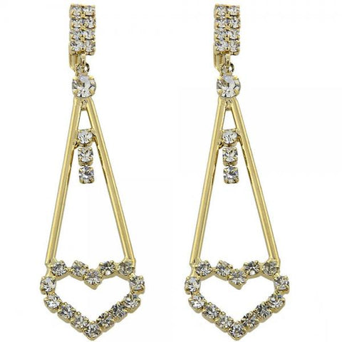 Gold Layered 5.110.007 Long Earring, Heart Design, with White Cubic Zirconia, Polished Finish, Golden Tone