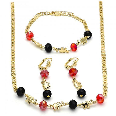 Gold Layered 06.213.0001 Necklace, Bracelet and Earring, Elephant Design, with Garnet and Black Crystal, Polished Finish, Golden Tone