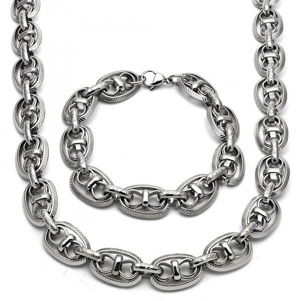 Stainless Steel 06.289.0013 Necklace and Bracelet, Polished Finish, Steel Tone