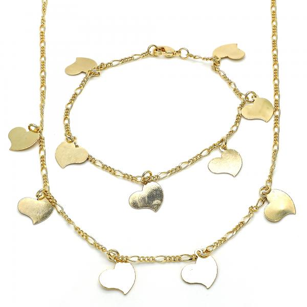 Gold Layered 06.63.0200 Necklace and Bracelet, Heart Design, Polished Finish, Golden Tone