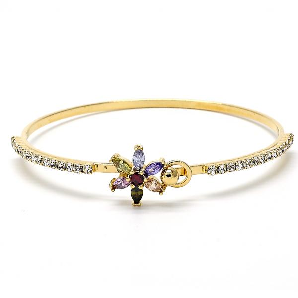 Gold Layered 07.97.0017.1 Individual Bangle, Flower Design, with Multicolor Cubic Zirconia, Polished Finish, Golden Tone (02 MM Thickness, Size 3 - 2.00 Diameter)