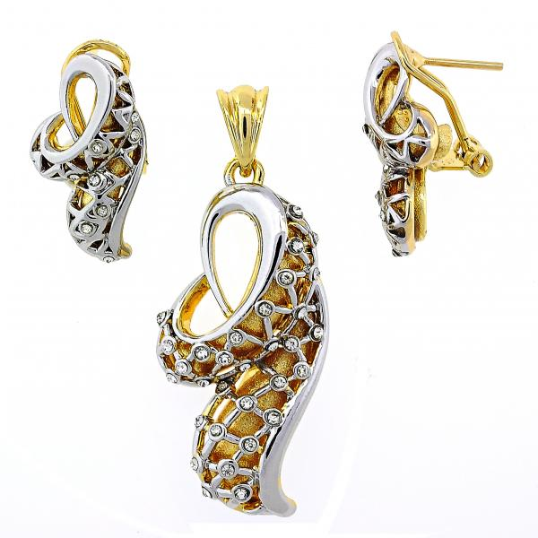 Gold Layered 10.91.0320 Earring and Pendant Adult Set, with White Crystal, Polished Finish, Two Tone