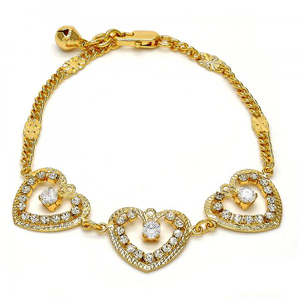 Gold Tone 03.270.0003.07.GT Fancy Bracelet, Heart and Rattle Charm Design, with White Crystal, Polished Finish, Golden Tone