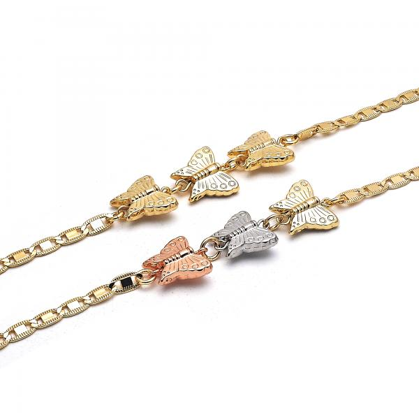 Gold Layered Fancy Anklet, Butterfly Design, Golden Tone