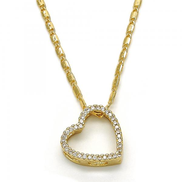 Gold Layered 04.156.0131.20 Fancy Necklace, Heart Design, with White Micro Pave, Polished Finish, Golden Tone