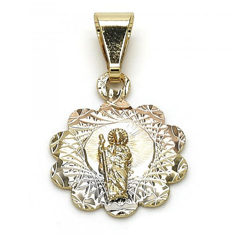 Gold Layered 05.253.0031 Religious Pendant, San Judas and Flower Design, Diamond Cutting Finish, Tri Tone