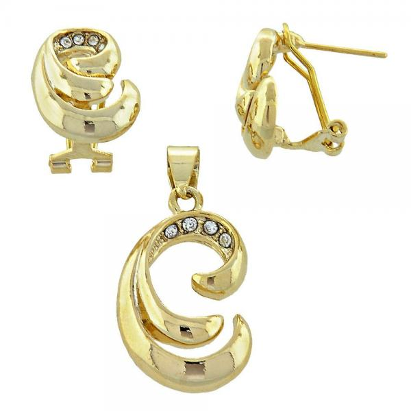 Gold Layered 5.053.004 Earring and Pendant Adult Set, with White Crystal, Matte Finish, Golden Tone