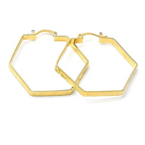 Gold Layered 02.63.1193 Medium Hoop, Diamond Cutting Finish, Golden Tone