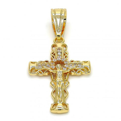 Gold Layered 05.120.0056 Religious Pendant, Crucifix Design, with White Micro Pave, Polished Finish, Golden Tone