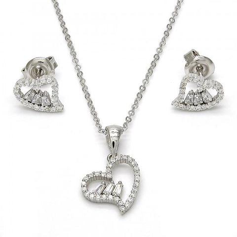 Sterling Silver 10.275.0021 Earring and Pendant Adult Set, Heart Design, with White Crystal and White Cubic Zirconia, Polished Finish, Rhodium Tone
