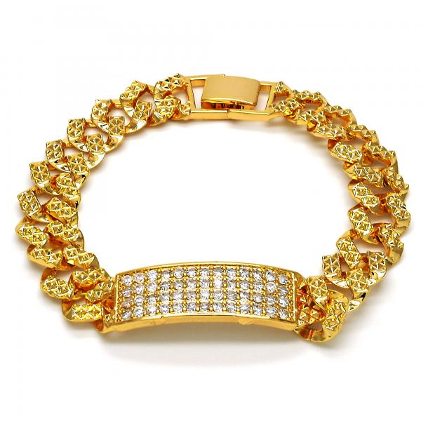 Gold Layered 03.284.0010.07 ID Bracelet, with White Cubic Zirconia, Polished Finish, Golden Tone