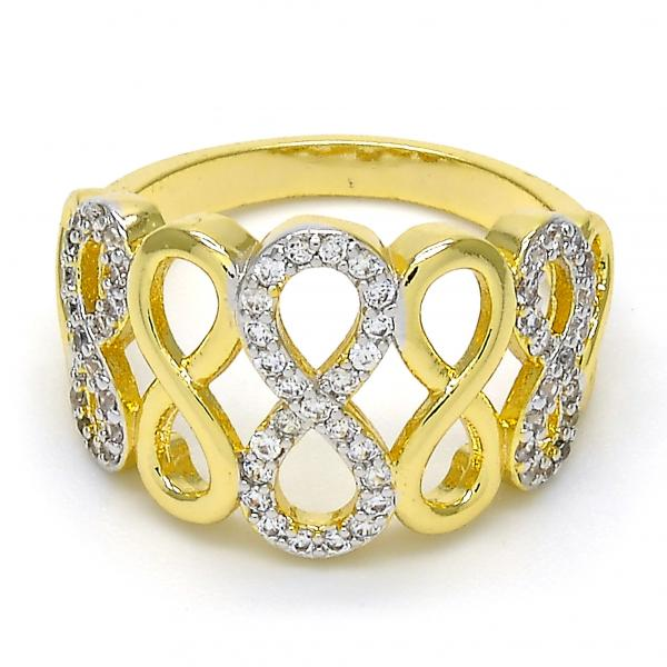 Gold Layered Multi Stone Ring, Infinite Design, with Micro Pave, Two Tone