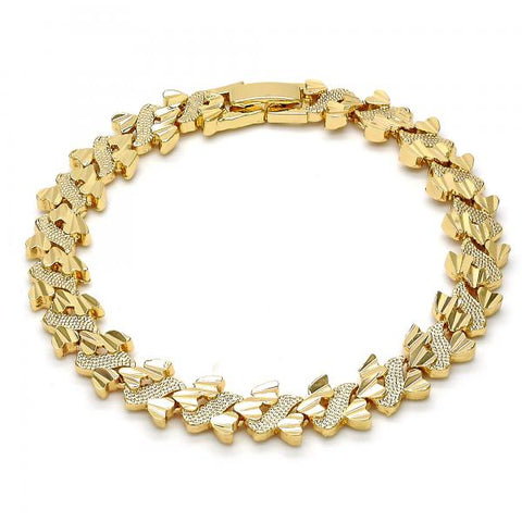 Gold Tone 03.192.0026.07.GT Fancy Bracelet, Heart Design, Diamond Cutting Finish, Golden Tone