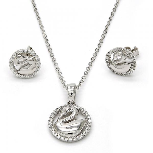 Sterling Silver 10.281.0014 Earring and Pendant Adult Set, Swan Design, with White Crystal, Polished Finish, Rhodium Tone