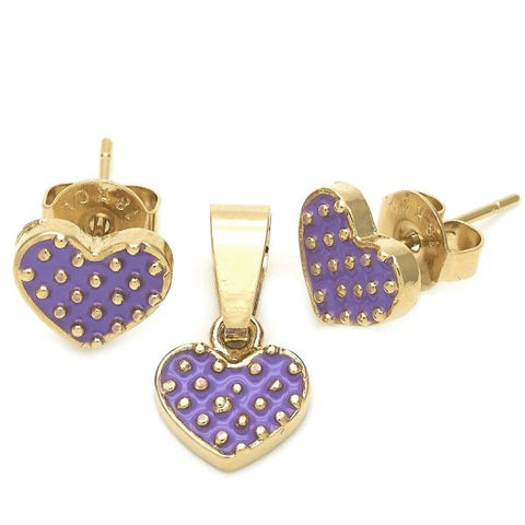 Gold Layered 10.64.0123 Earring and Pendant Children Set, Heart Design, Purple Enamel Finish, Golden Tone