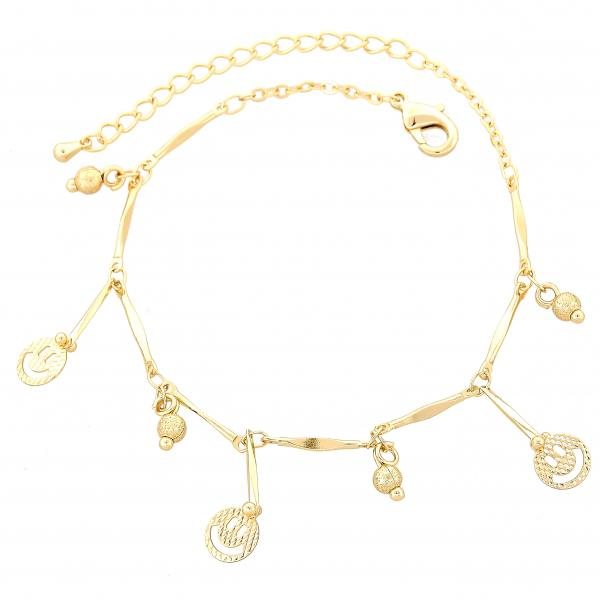 Gold Layered 03.105.0034.07 Charm Bracelet, Diamond Cutting Finish, Golden Tone