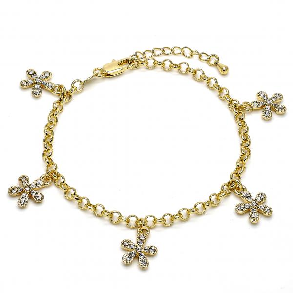 Gold Layered 03.63.1354.07 Charm Bracelet, Flower and Rolo Design, with White Crystal, Polished Finish, Golden Tone