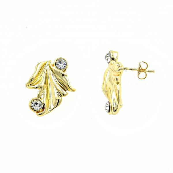Gold Layered 02.59.0038 Stud Earring, Leaf Design, with White Crystal, Diamond Cutting Finish, Golden Tone