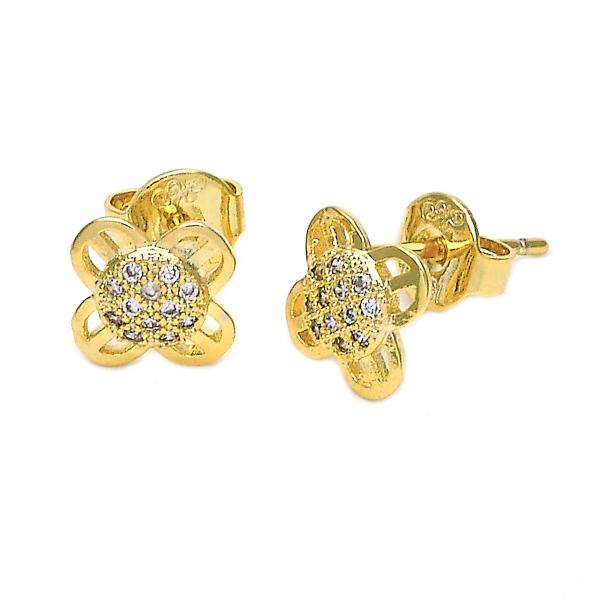 Gold Layered 02.156.0050 Stud Earring, Flower Design, with  Micro Pave, Golden Tone