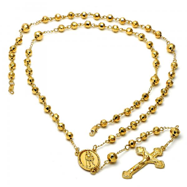 Gold Layered 5.202.005.30 Large Rosary, Crucifix and San Lazaro Design, Diamond Cutting Finish, Golden Tone