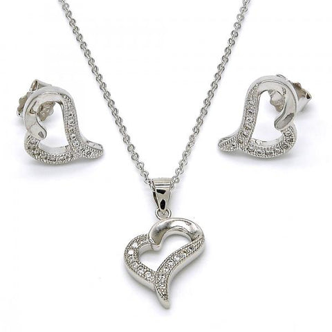 Sterling Silver 10.174.0267 Earring and Pendant Adult Set, Heart Design, with White Micro Pave, Polished Finish, Rhodium Tone