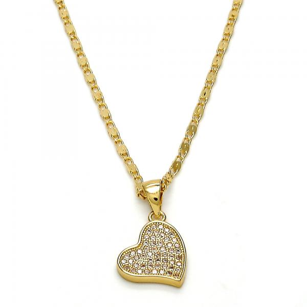 Gold Layered 04.233.0001.18 Fancy Necklace, Heart Design, with White Micro Pave, Polished Finish, Golden Tone