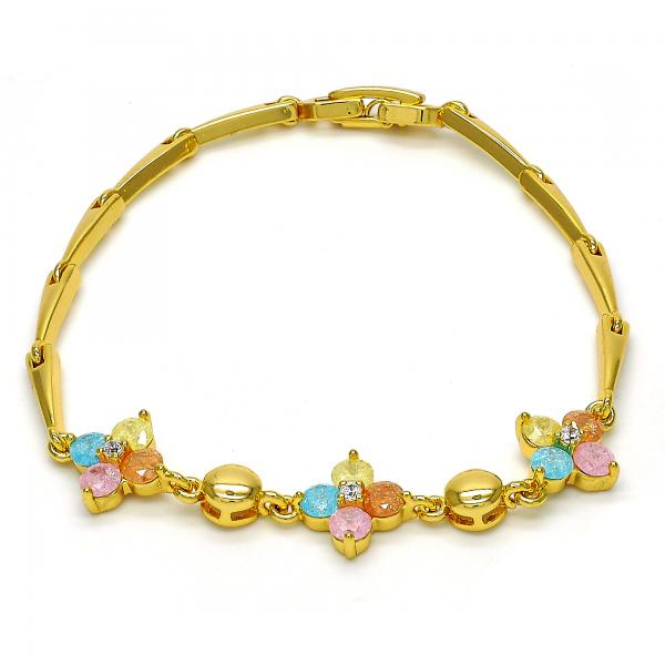 Gold Tone 03.213.0024.07.GT Fancy Bracelet, Flower Design, with Multicolor Cubic Zirconia, Polished Finish, Golden Tone