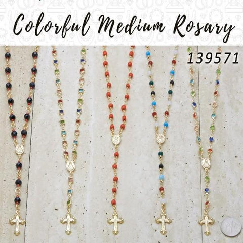18 Colorful Medium Rosaries in Gold Layered ($5.55) ea