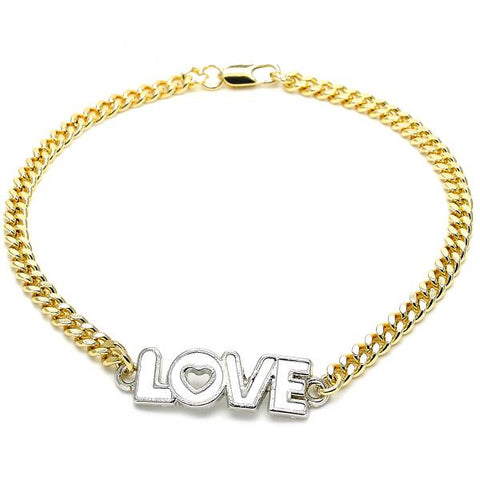 Gold Layered 03.63.1861.10 Fancy Anklet, Love and Heart Design, White Enamel Finish, Two Tone