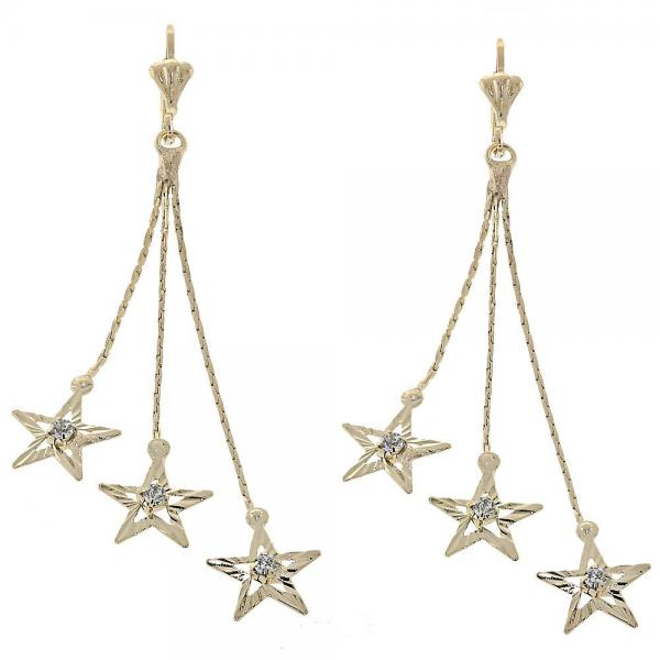 Gold Layered 02.165.0076 Long Earring, Star Design, with White Cubic Zirconia, Diamond Cutting Finish, Golden Tone