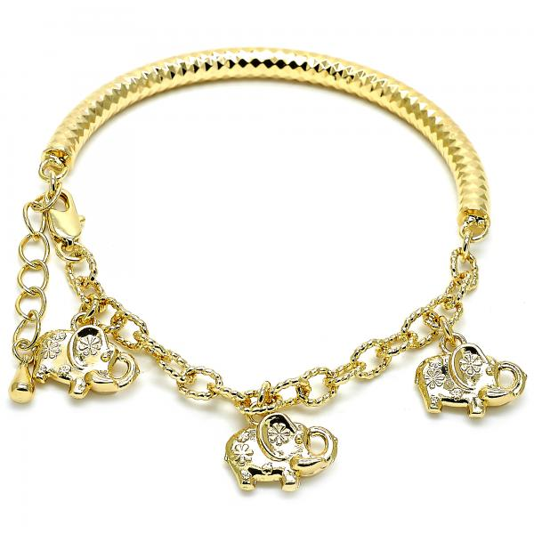 Gold Layered 03.63.1865.08 Charm Bracelet, Elephant and Hollow Design, Diamond Cutting Finish, Golden Tone