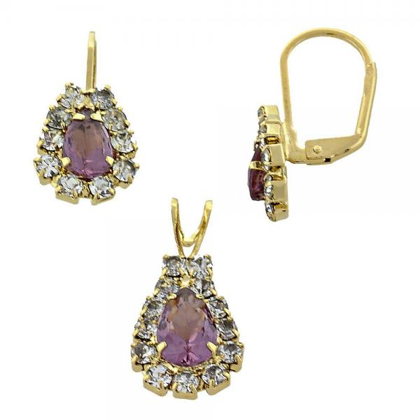 Gold Layered 5.056.015 Earring and Pendant Adult Set, with  Cubic Zirconia, Golden Tone