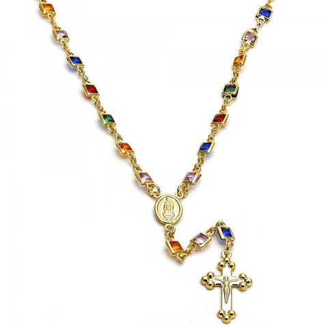 Gold Layered 09.63.0101.18 Medium Rosary, Guadalupe and Crucifix Design, with Multicolor Cubic Zirconia, Polished Finish, Golden Tone