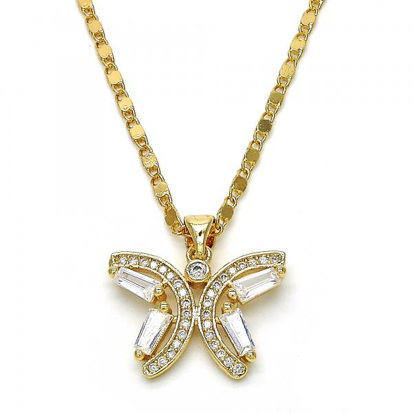 Gold Layered 04.94.0003.18 Fancy Necklace, Butterfly Design, with White Cubic Zirconia, Polished Finish, Golden Tone