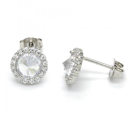 Sterling Silver 02.285.0069 Stud Earring, with White Cubic Zirconia, Polished Finish,