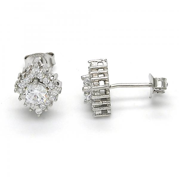 Sterling Silver 02.285.0077 Stud Earring, with White Cubic Zirconia, Polished Finish,