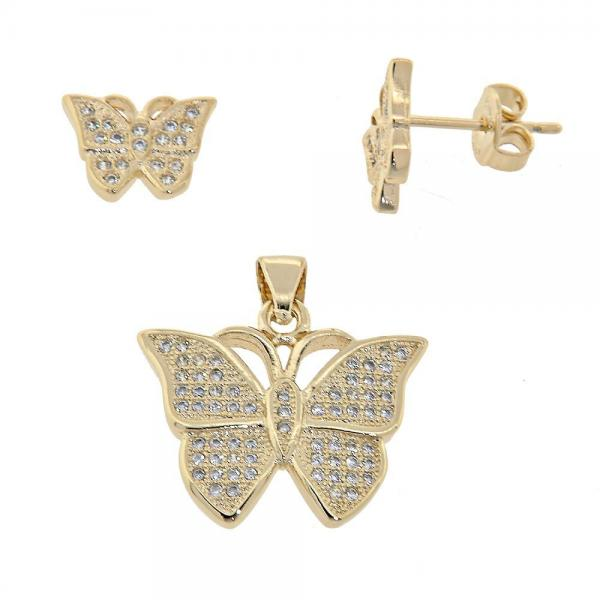 Gold Layered 10.156.0011 Earring and Pendant Adult Set, Butterfly Design, with White Micro Pave, Golden Tone